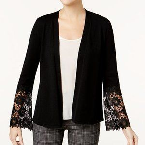Charter Club Lace-Contrast Open-Front Cardigan